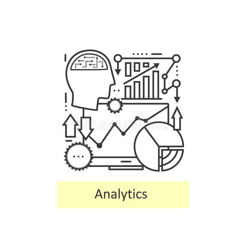 Línea fina moderna de analytics de los iconos libre illustration