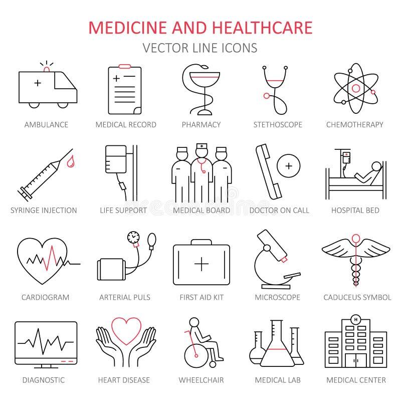 Línea fina moderna de iconos en medicina stock de ilustración