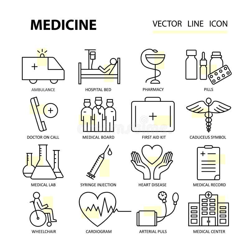 Línea fina moderna de iconos en medicina y símbolos de la salud ilustración del vector