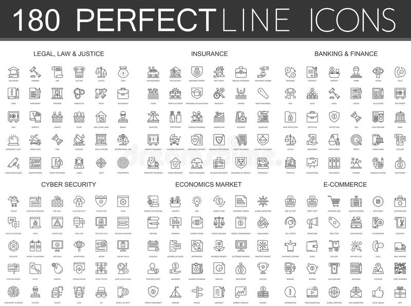180 línea fina moderna iconos fijados de legal, de la ley y de la justicia, seguro, depositando finanzas, seguridad cibernética,  ilustración del vector