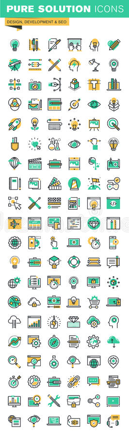 Línea fina moderna iconos fijados del diseño gráfico, del diseño y del desarrollo, sept del sitio web libre illustration