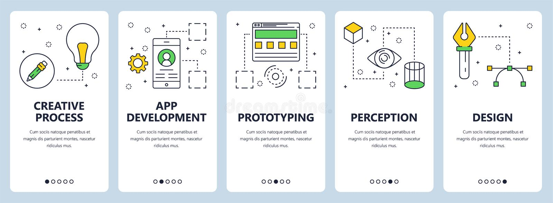 Línea fina moderna sistema de proceso creativo del vector de la bandera del web del concepto stock de ilustración