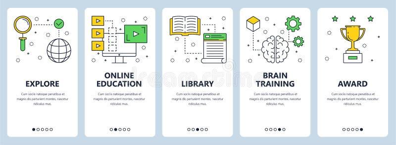 Línea fina moderna sistema del vector de la bandera del web del concepto de la educación ilustración del vector