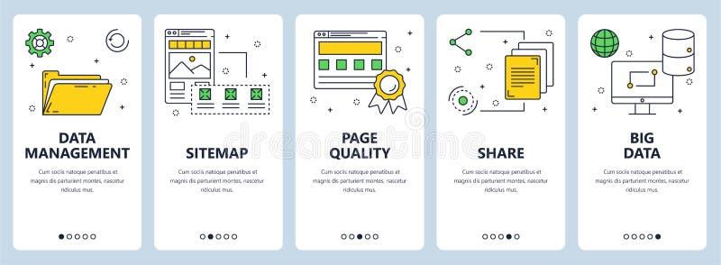 Línea fina moderna sistema del vector de la bandera del web del concepto de la gestión de datos libre illustration