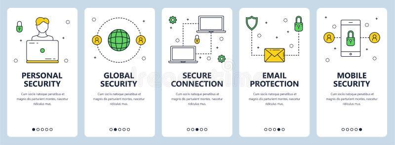 Línea fina moderna sistema personal del vector de la bandera del web del concepto de la seguridad stock de ilustración