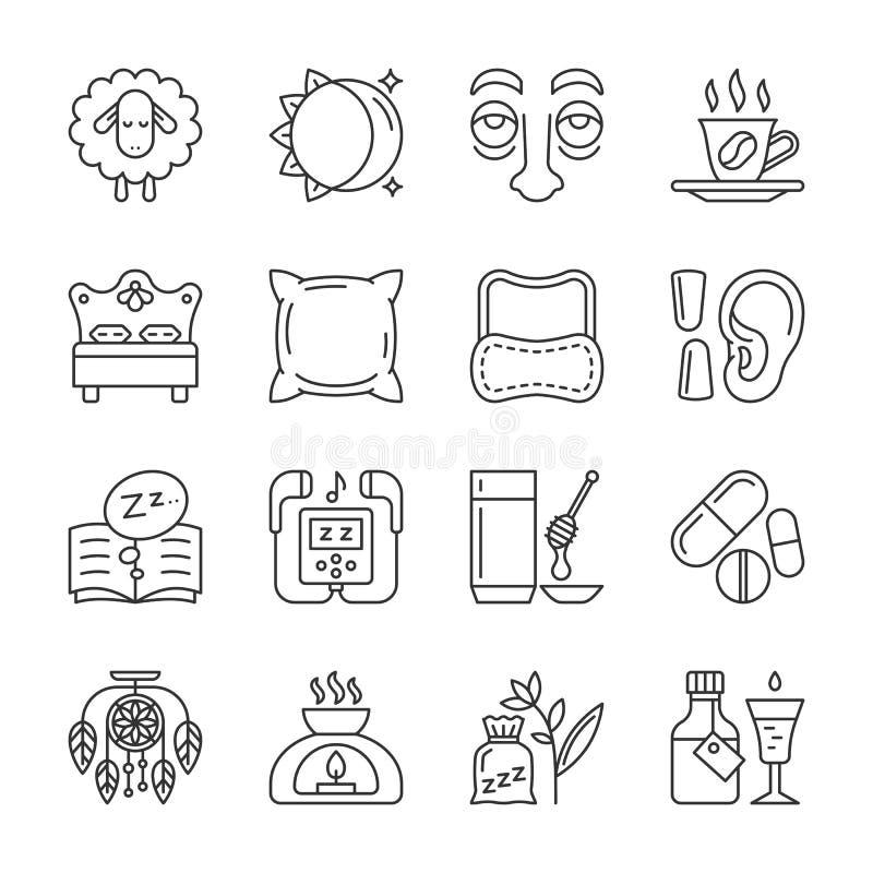 Línea fina movimiento editable determinado del insomnio del icono ilustración del vector
