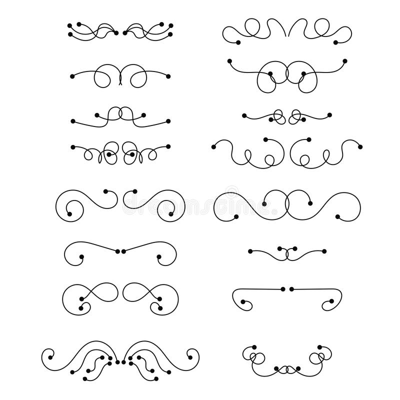 Línea fina negra abstracta jefes rizados Sistema de elemento retro del diseño en el fondo blanco stock de ilustración