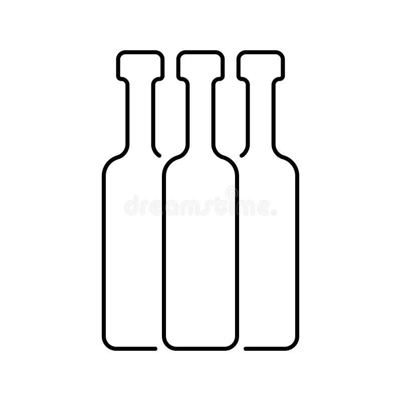 Línea fina negra botellas ilustración del vector