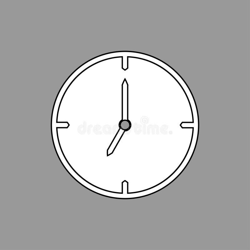 Línea fina negra icono del reloj en fondo gris las 7 - ejemplo del vector ilustración del vector