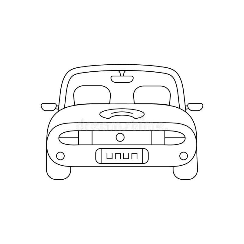Línea fina negra opinión de la parte posterior del coche ilustración del vector