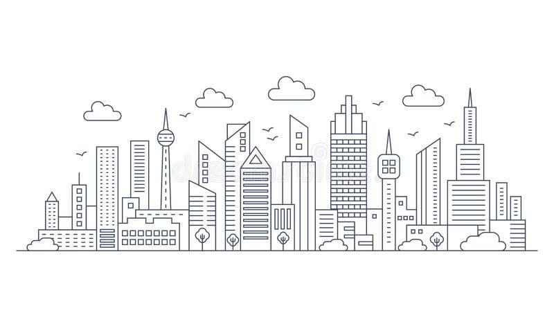 Línea fina paisaje del vector del panorama de la ciudad Ciudad urbana de la arquitectura moderna con los altos rascacielos libre illustration