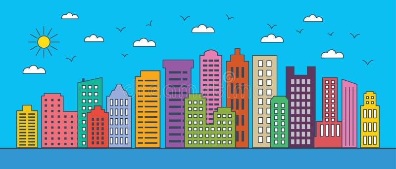 Línea fina paisaje urbano Paisaje urbano con los edificios del negocio Ejemplo del vector de los edificios modernos de la ciudad  stock de ilustración