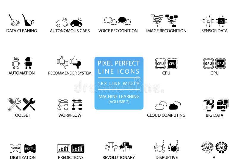 Línea fina perfecta iconos y símbolos del pixel para el aprendizaje de máquina/profundamente que aprende/inteligencia artificial ilustración del vector