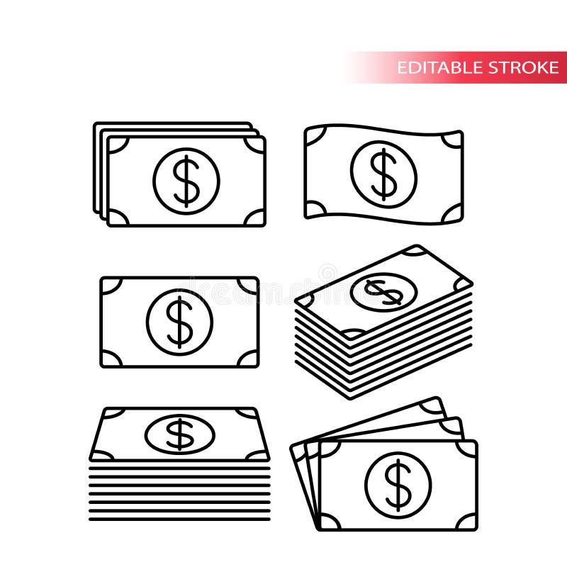 Línea fina pila completamente editable de iconos del dinero del dólar Sistema del icono del billete de banco Pila de iconos del d ilustración del vector