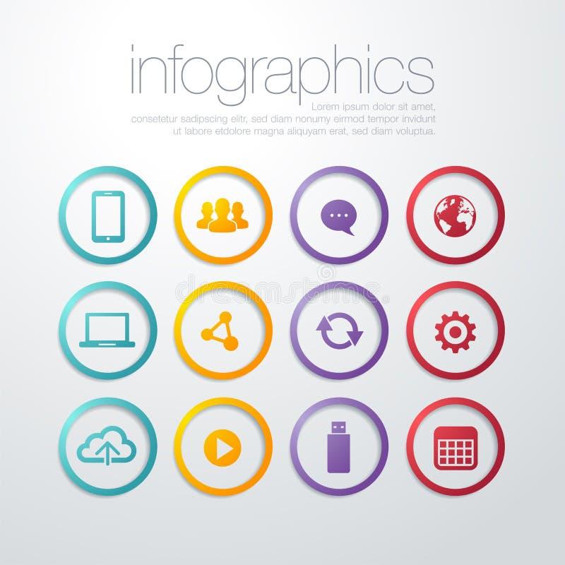 Línea fina plana colorida estilo del diseño moderno de los iconos, sistema de símbolos del servicio del seo, Search Engine de la  libre illustration