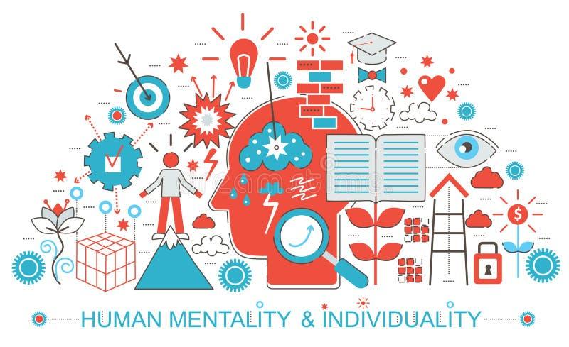Línea fina plana moderna características humanas de la mentalidad y de la individualidad del diseño concepto para el sitio web de libre illustration