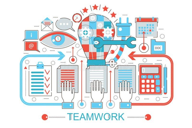 Línea fina plana moderna concepto coworking del trabajo en equipo del diseño para el sitio web, la presentación, el aviador y el  ilustración del vector