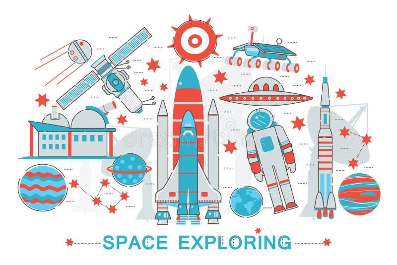 Línea fina plana moderna concepto de exploración de la tecnología del espacio abierto del diseño libre illustration