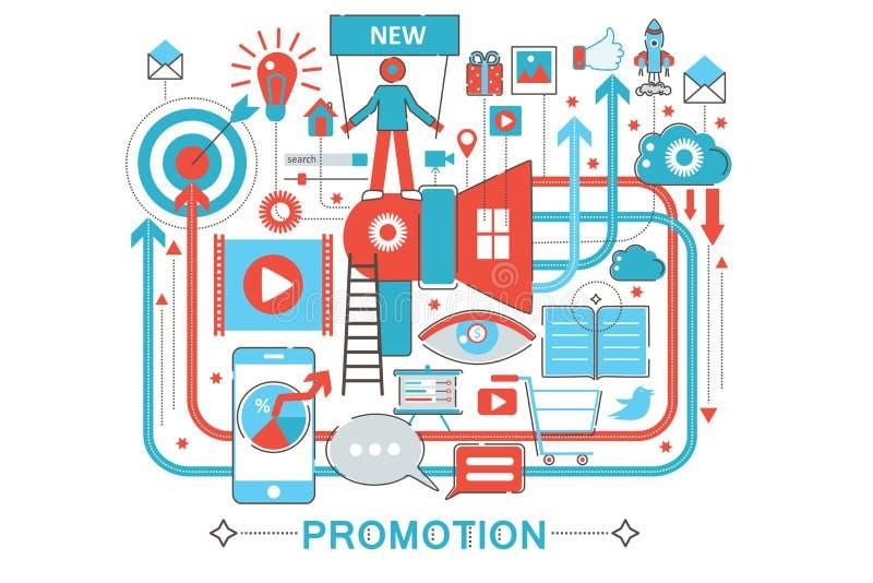Línea fina plana moderna concepto del promo de la promoción del diseño para el sitio web de la bandera del web stock de ilustración