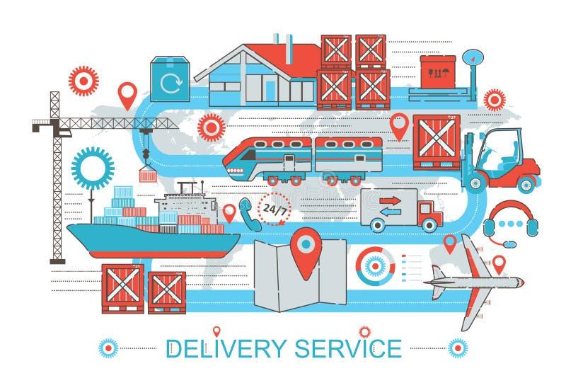 Línea fina plana moderna concepto del servicio del cargo de la logística de la entrega del diseño para el sitio web de la bandera stock de ilustración
