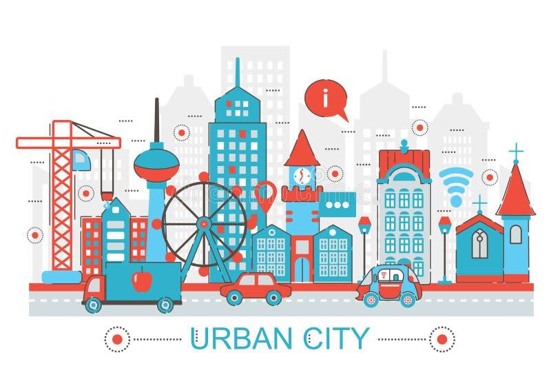 Línea fina plana moderna concepto urbano de la ciudad del diseño para el sitio web de la bandera del web stock de ilustración