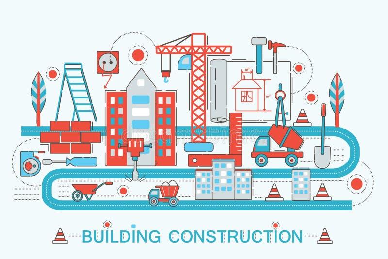 Línea fina plana moderna construcción del diseño y concepto del edificio del arquitecto stock de ilustración