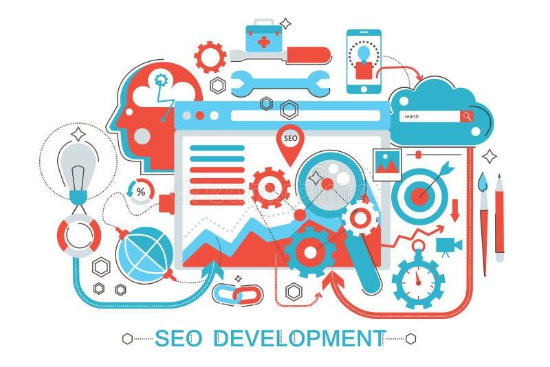 Línea fina plana moderna diseño SEO y concepto del desarrollo para el sitio web, la presentación, el aviador y el cartel de la ba stock de ilustración