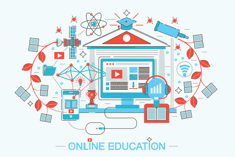 Línea fina plana moderna educación de la distancia del diseño y concepto en línea del aprendizaje electrónico ilustración del vector