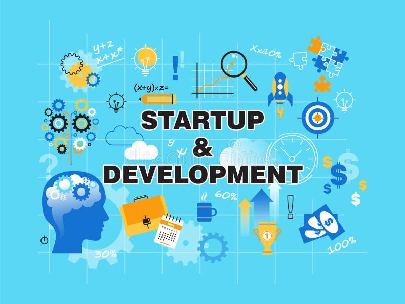 Línea fina plana moderna ejemplo del vector del diseño, concepto de desarrollo del proyecto de inicio, de la estrategia empresari libre illustration
