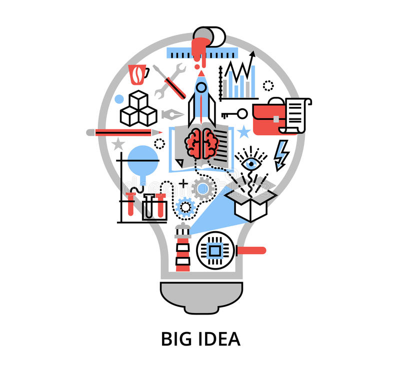 Línea fina plana moderna ejemplo del vector del diseño, concepto de idea grande creativa bajo la forma de lámpara del bulbo stock de ilustración
