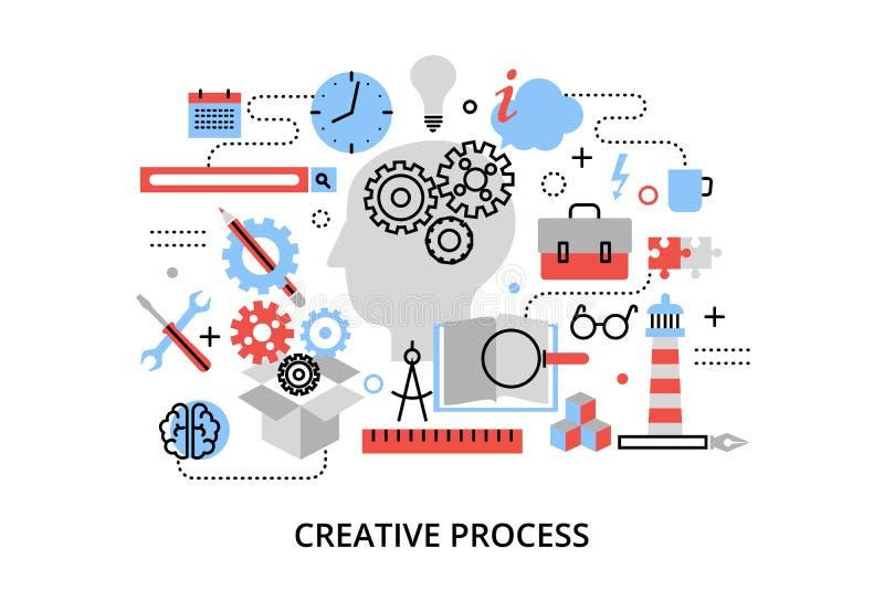 Línea fina plana moderna ejemplo del vector del diseño, concepto de problema creativo del proceso, de la definición y de la inves libre illustration