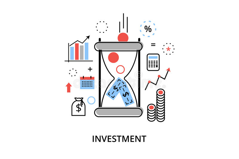 Línea fina plana moderna ejemplo del vector del diseño, concepto infographic con los iconos de la inversión al negocio y proceso  libre illustration