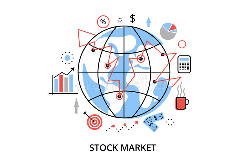 Línea fina plana moderna ejemplo del vector del diseño, concepto infographic con los iconos del proceso del mercado de acción y c libre illustration