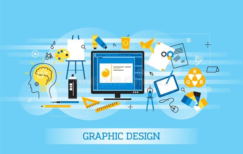 Línea fina plana moderna ejemplo del vector del diseño, concepto infographic de diseño gráfico, artículos de diseño y herramienta ilustración del vector