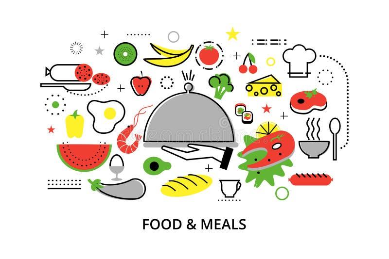 Línea fina plana moderna ejemplo del vector del diseño, conceptos de comida hecha en casa y comidas del restaurante stock de ilustración
