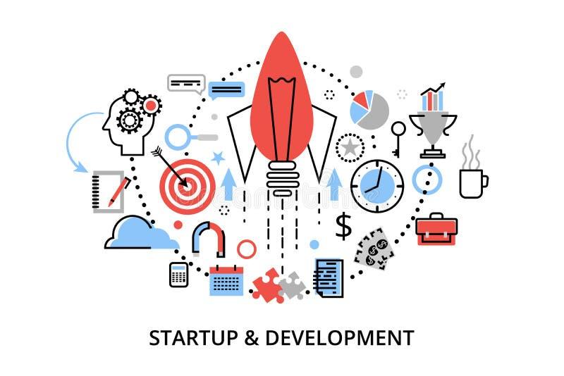 Línea fina plana moderna ejemplo del vector del diseño, conceptos de desarrollo del proyecto de inicio, de la estrategia empresar libre illustration