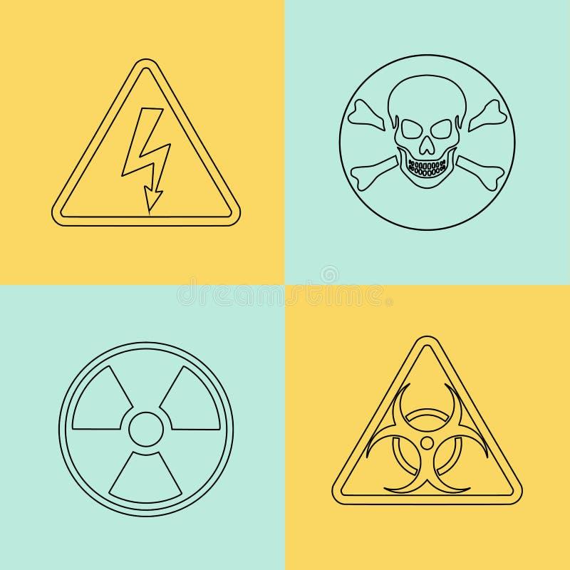 Línea fina plana señales de peligro del vector, símbolos ilustración del vector