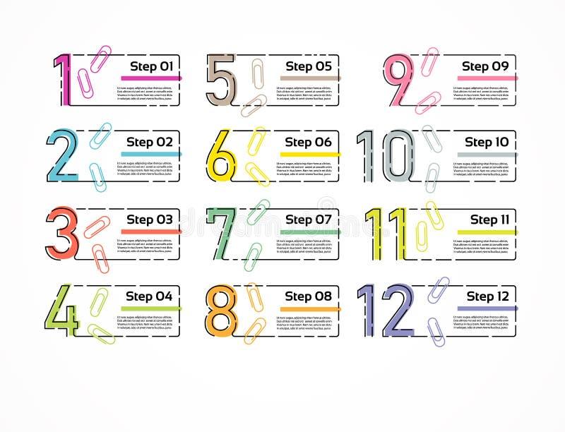 Línea fina plantilla mínima del diseño de Infographic 12 opciones, pasos Puede ser utilizado para el diagrama de proceso, present ilustración del vector