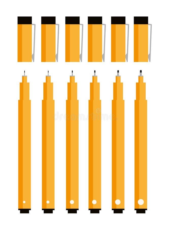 Línea fina plumas ilustración del vector