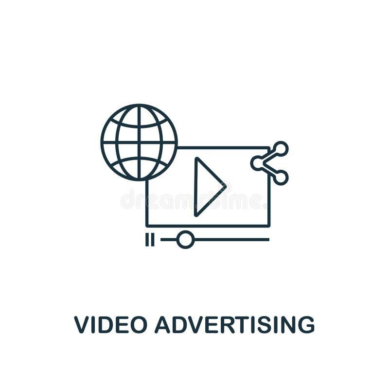 Línea fina publicitaria video estilo del icono Símbolo de la colección de comercialización en línea de los iconos Icono publicita ilustración del vector
