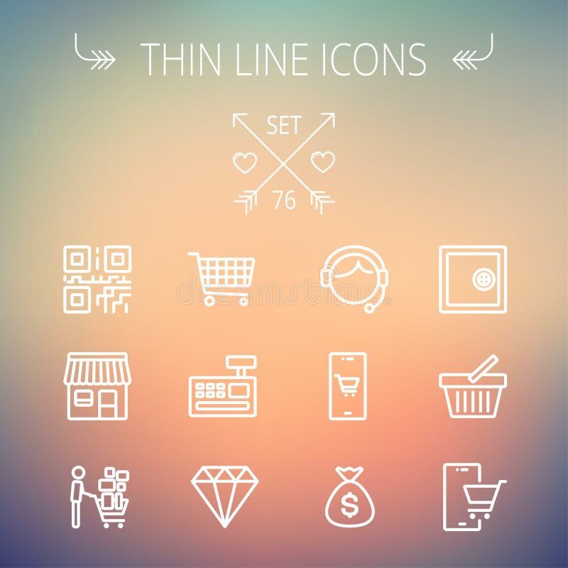 Línea fina que hace compras sistema del negocio del icono libre illustration