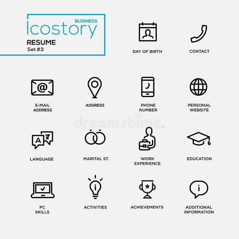 Línea fina simple iconos del diseño, pictogramas del curriculum vitae moderno fijados ilustración del vector