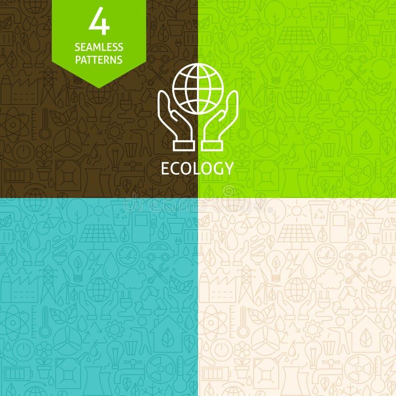 Línea fina sistema de Art Green Energy Ecology Pattern stock de ilustración