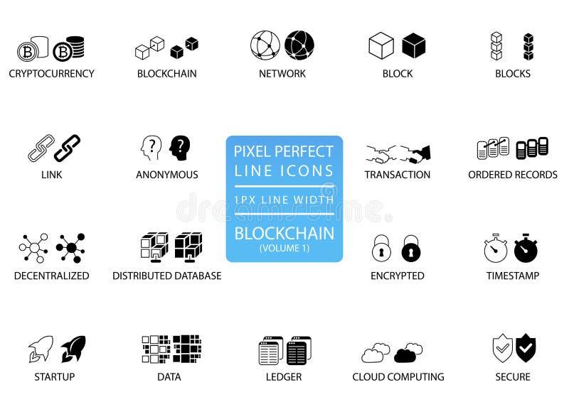 Línea fina sistema de Blockchain y del cryptocurrency del icono Iconos perfectos del pixel con 1 línea anchura del px para el uso ilustración del vector