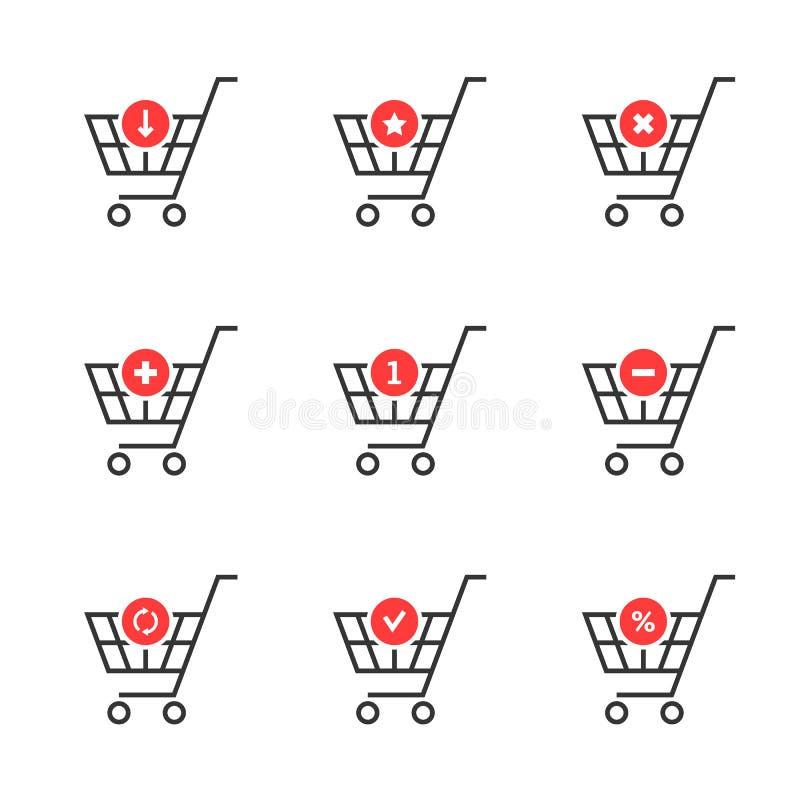 Línea fina sistema de icono del carro de la compra en el fondo blanco libre illustration