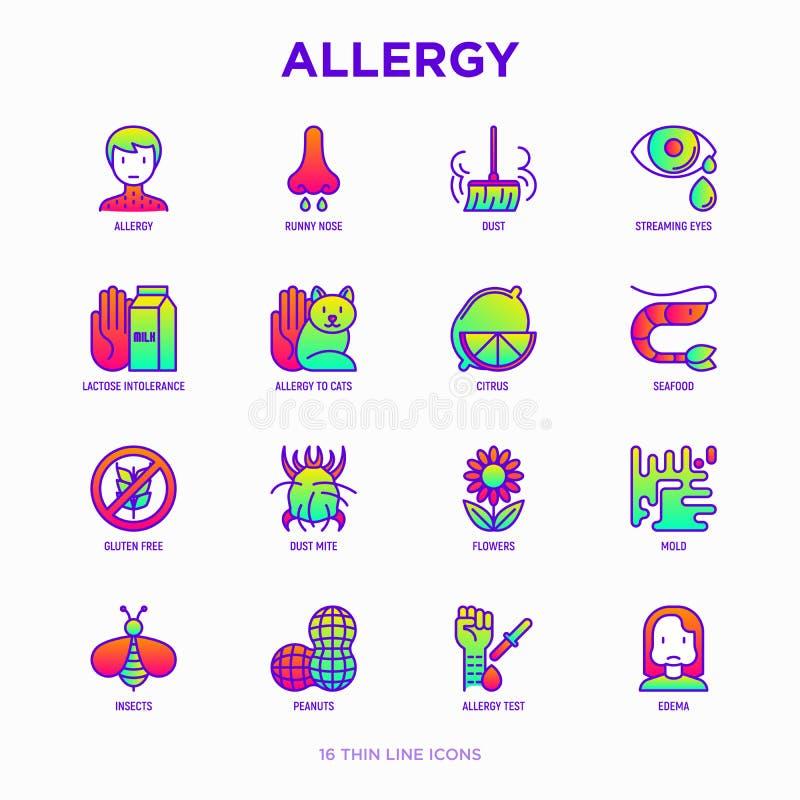 Línea fina sistema de la alergia de los iconos: mocos, polvo, fluyendo ojos, intolerancia a la lactosa, fruta cítrica, mariscos,  imágenes de archivo libres de regalías