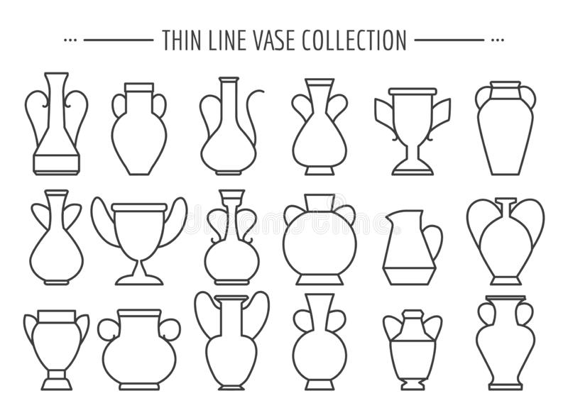 Línea fina sistema de los floreros ilustración del vector