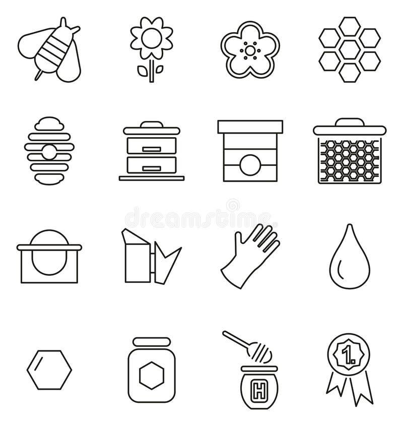 Línea fina sistema de los iconos del equipo de la apicultura de Honey Making y del ejemplo del vector stock de ilustración