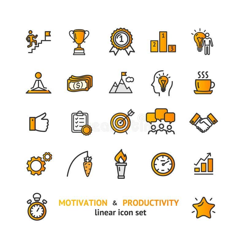 Línea fina sistema del color de las muestras de la motivación y de la productividad del icono Vector ilustración del vector
