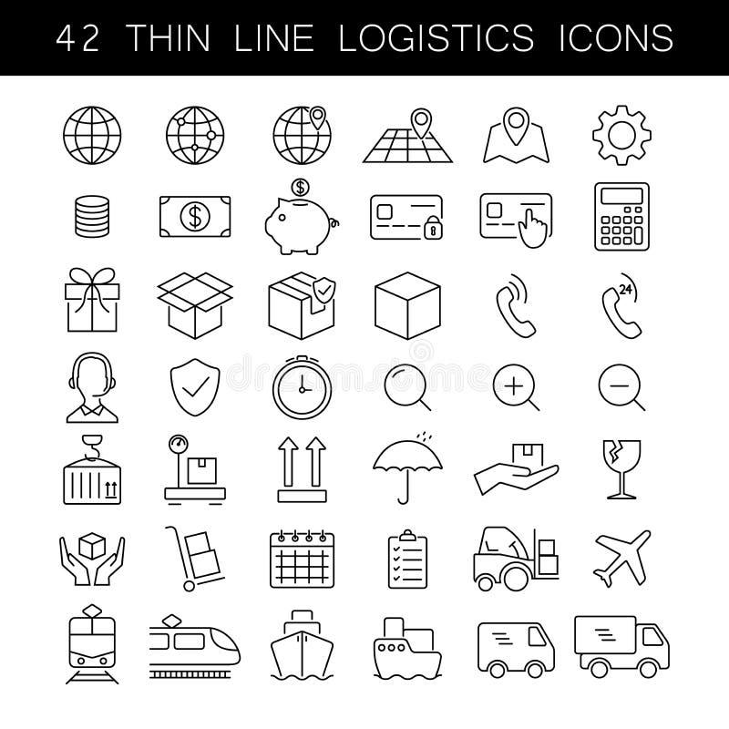 Línea fina sistema del icono de la logística Iconos del servicio del cargo y de entrega Esquema negro, ningún terraplén, editable libre illustration